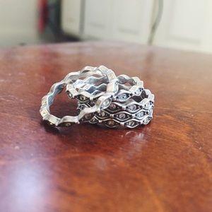 brighton • set of 5 silver stacking rings